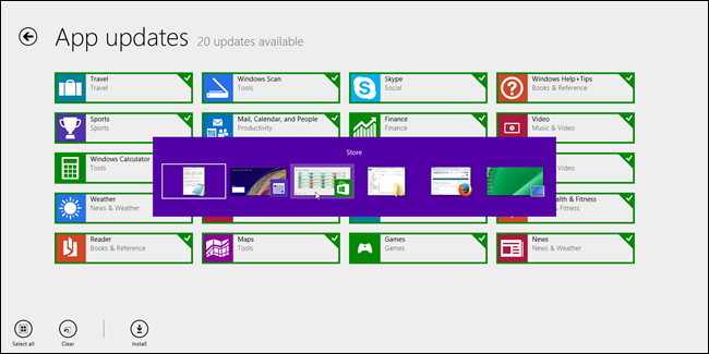 Windows 8.1 tâches