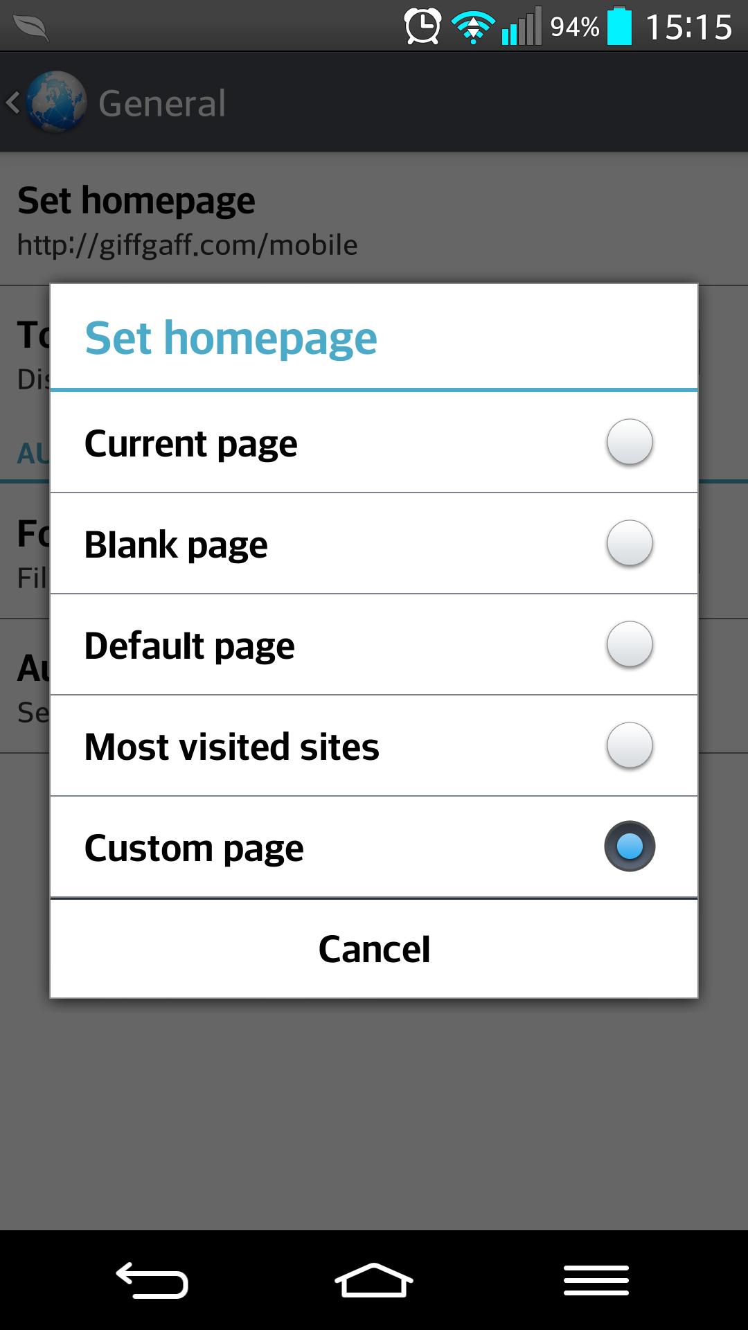 définir la navigateur page d'accueil