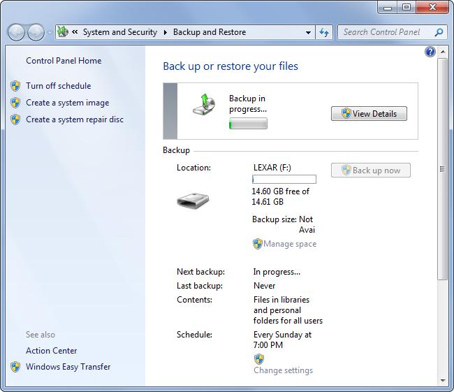 Sauvegardez et Restaurez sur Windows 7