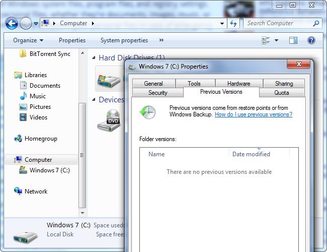Versions Vieilles sur Windows 7