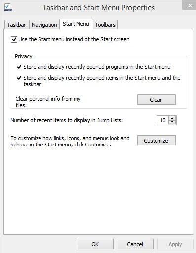 Menu de Démarrage Windows 10