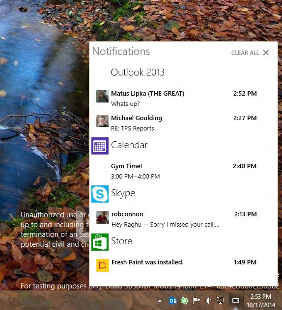 Windows 10 avec un centre de notification
