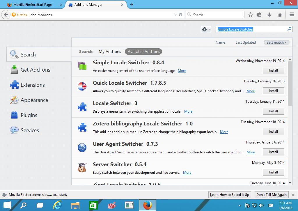 changer la langue d'affichage de Firefox
