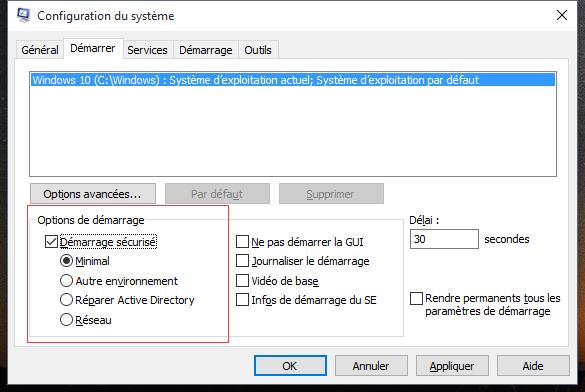 Redémarrer Windows 10 en mode sans échec