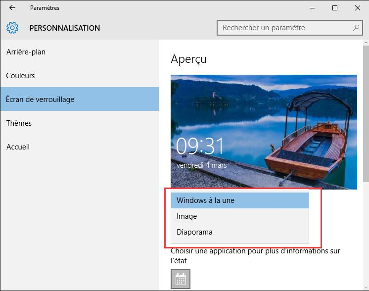 l'écran de verrouillage de Windows 10